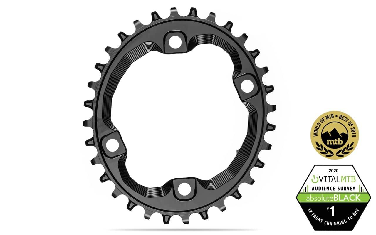 black Absolute Black XT Asym 96BCD Oval chainring 34T