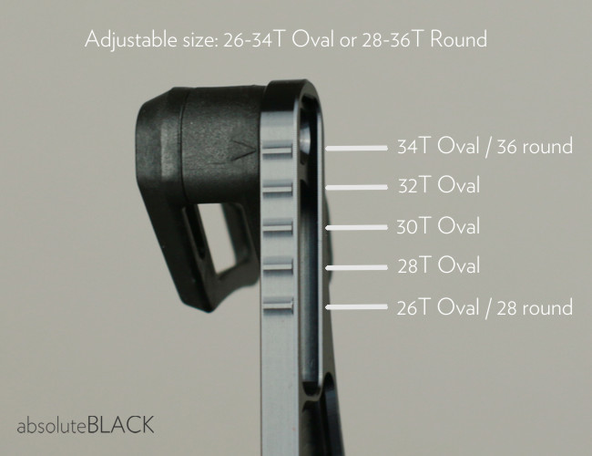 absoluteblack oval guide has capacity of 26-34T oval and 28-36T round chainirngs