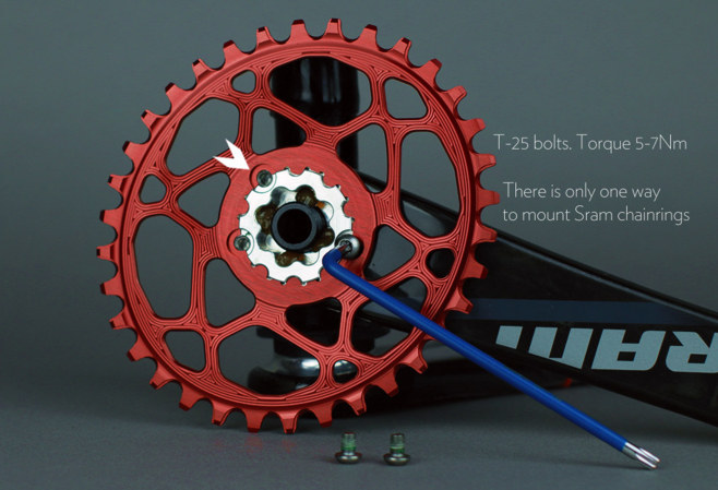 Instruction how to mount sram GXP Boost148 oval chainring onto the cranks xx1, x01, x1, X9, X0, X7
